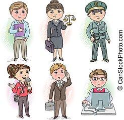Profession kids 5 - Set of occupations - manager, judge, ...