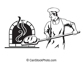 profession of chef - baker prepares bread in a stone oven...