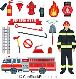 Profession of fireman or firefighter vector tools - Fireman ...