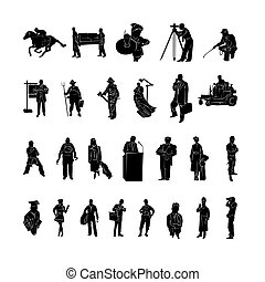 Profession of work silhouette. Vector Illustration.. Collection set