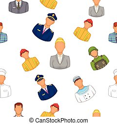 Profession pattern, cartoon style
