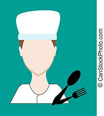 Profession people cook. Face male uniform. Avatars in flat design. Vector