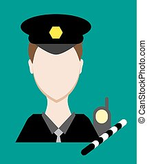 Profession people cop. Face male uniform. Avatars in flat design. Vector