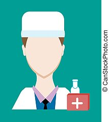 Profession people doctor. Face male uniform. Avatars in flat design. Vector