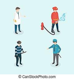 Profession people. Doctor, fireman, policeman