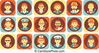 Profession people icons set, professional human occupation avatars vector Illustrations