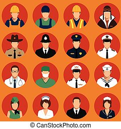 profession people - vector icon workers, profession people,...
