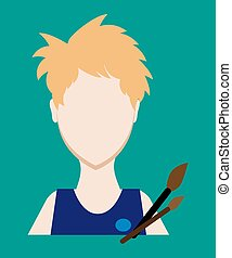 Profession people painter. Face male uniform. Avatars in flat design. Vector