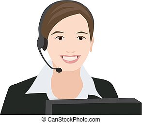 Profession receptionist woman, isolated vector