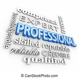 Professional 3d word collage including terms like expert, competent, skilled, reliable, qualified, knowledgeable, talented and credible