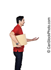 Professional asian delivery man with box