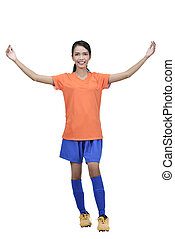 Professional asian female football player posing celebrate