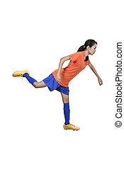 Professional asian football player woman kick the ball