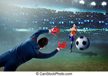 Professional asian soccer player woman kick the ball to goal