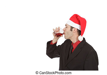 Professional at Christmas Party Drinking