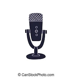 Professional audio equipment for recording videos and vocals, microphone on coasters trendy hand drawn style. Blog, live streams and vlog record concept. Flat vector isolated illustration.