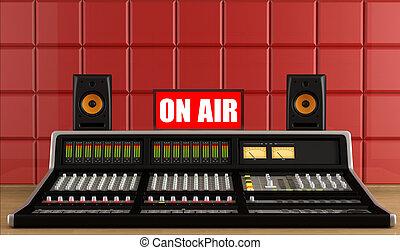 Professional audio mixer in a recording studio