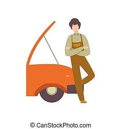 Professional Auto Mechanic Character in Uniform Repairing Car Vector Illustration