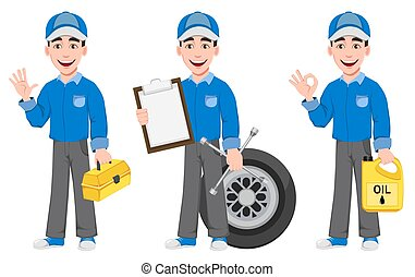 Professional auto mechanic in uniform, set of three poses. ...