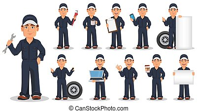 Professional auto mechanic in uniform, set