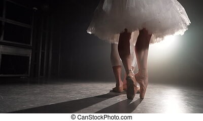 Professional ballet couple dancing in spotlights smoke on big stage. Beautiful young woman and man on floodlights background. Emotional duet performing choreographic art. Slow motion.