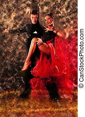 Professional ballroom dance couple preform an exhibition...