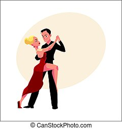 Professional ballroom dancers dancing tango, looking at each other