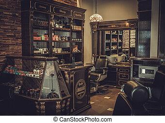 Professional barber shop vintage interior.