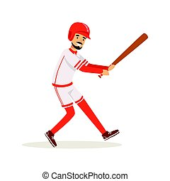 Professional baseball player getting ready to hit the ball vector Illustration