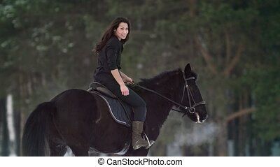 Professional beautiful longhaired woman riding a black horse...