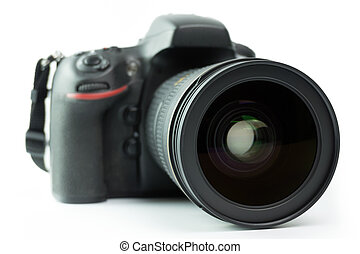 DSLR camera - Professional black DSLR camera over white...