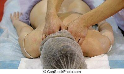 Professional body massage close up