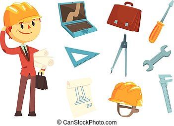 Professional Builder And Architect And His Tools, Man And His Profession Attributes Set Of Isolated Cartoon Objects