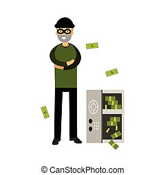 Professional burglar character in a mask opened a safe with money vector Illustration