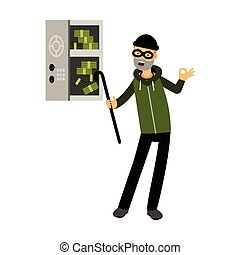 Professional burglar character in a mask opened a safe with money with character vector Illustration