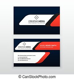 professional business card design template in red and blue color