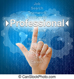 Professional, Business concept in word for Human resources