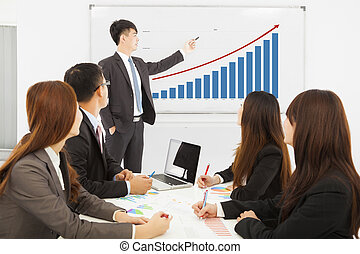 professional business man showing a market situation chart