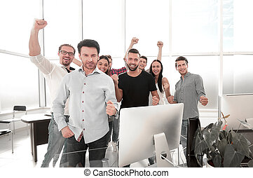 professional business team standing in a modern office