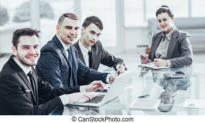 business team working with documents at his workplace