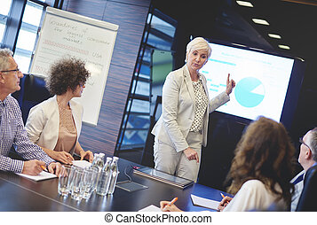 Professional business woman managing on meeting
