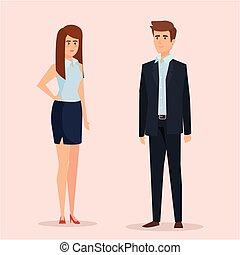 professional businesswoman and businessman elegant executive
