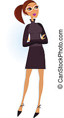Modern Businesswoman in black suit. Vector Illustration in retro style.
