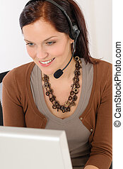 Professional call center representative woman
