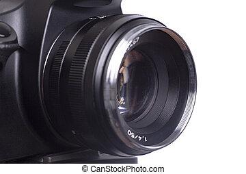 Professional camera lens isolated on white background