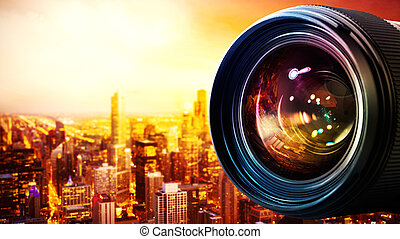 Professional camera lens - Professional lens of reflex...