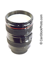 Professional camera lens with milk, souvenir isolated on white