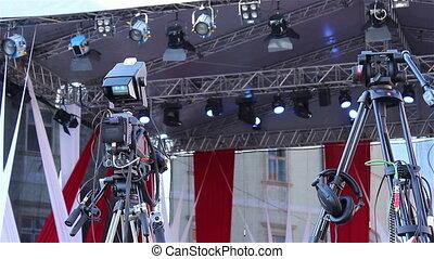Professional Camera on Tripod - Professional camera on...