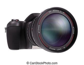 Professional camera over white. Exclusive Design (Design Concept).