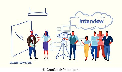 professional camera recording female presenter interviewing in television studio with crew reporter taking interview with man mass media announcement concept horizontal sketch